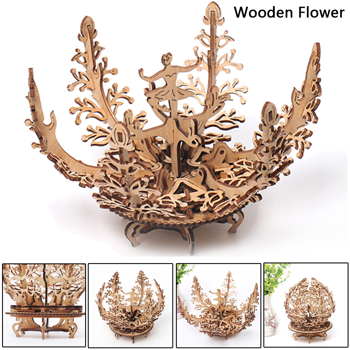 DIY 3D Wooden Puzzles Wooden Folwer Jigsaw Set for Adults Home Ornament