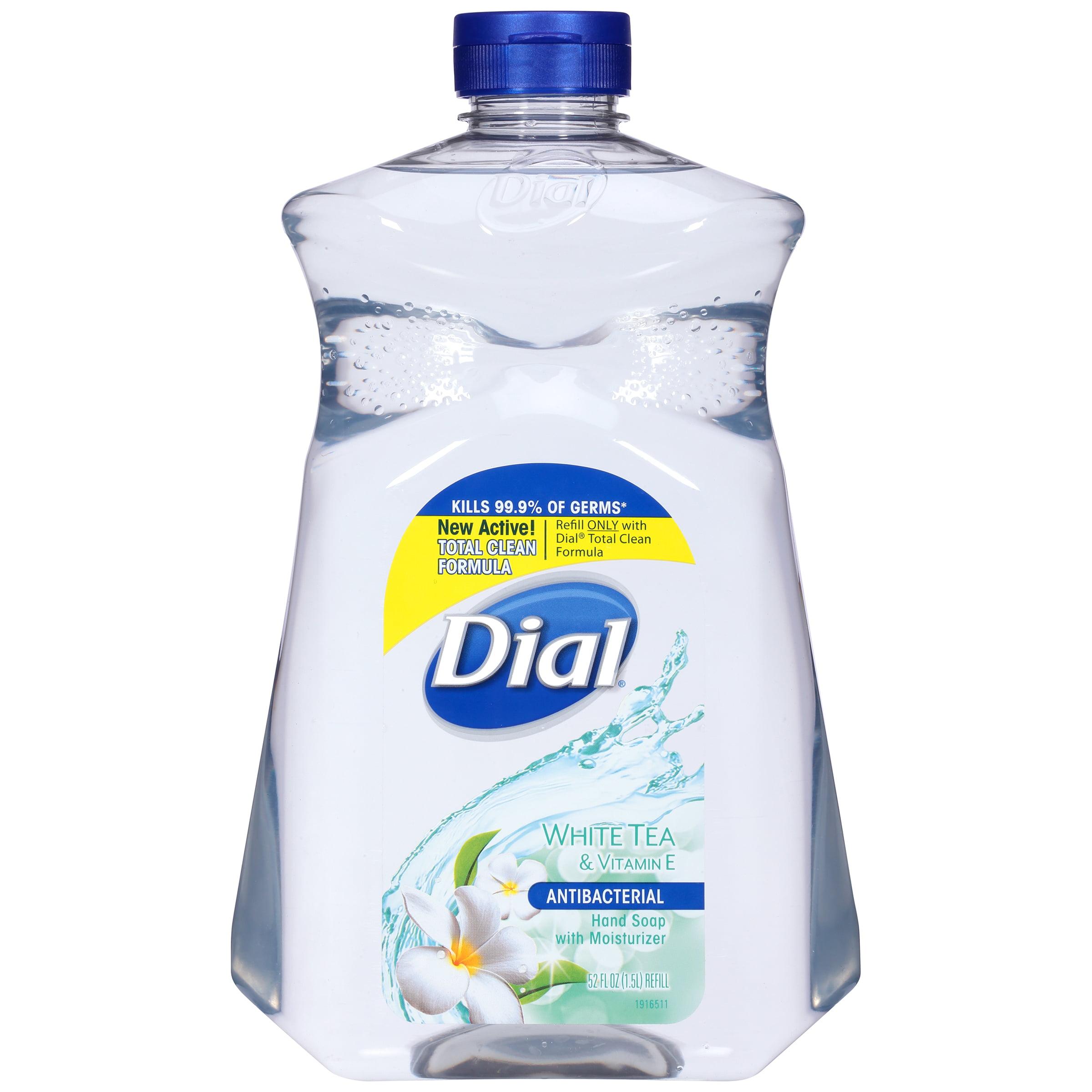Dial Antibacterial Liquid Hand Soap with Moisturizer Refill, White Tea & Vitamin E, 52 Ounce