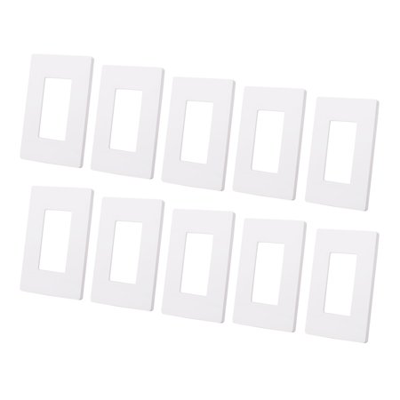 (10PCS 1 Gang Switch Plate Outlet Cover Wall Plate Rocker White Screwless Decorator, White)