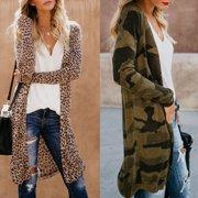 Multitrust Women's Loose Long Sleeve Cardigan Leopard Kimono Shawl Tops Blouse Coat Jacket