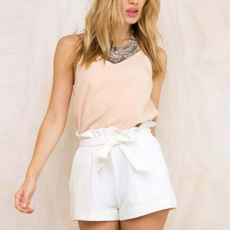 Women Hot Pants Summer Casual Loose Shorts Bow Beach High Waist Short Trousers White Size XXL