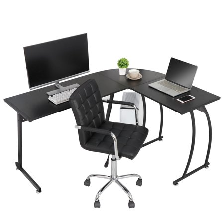 Modern L-Shaped Laptop Corner Desk Computer Desk Table, Home Office Writing Workstation Black
