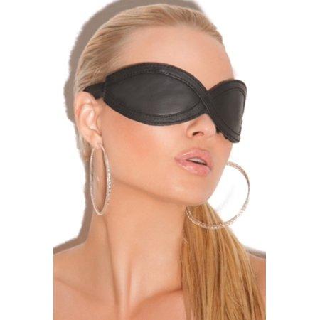Black Leather Blindfold Elegant Moments L9987 Black - Halloween Wellness