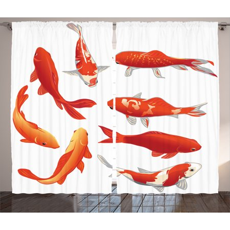Ocean Animal Decor Curtains 2 Panels Set, Legendary Koi Fish Band Chinese Good Fortune and Power Icon Tranquil , Window Drapes for Living Room Bedroom, 108W X 84L Inches, Orange White, by Ambesonne ()