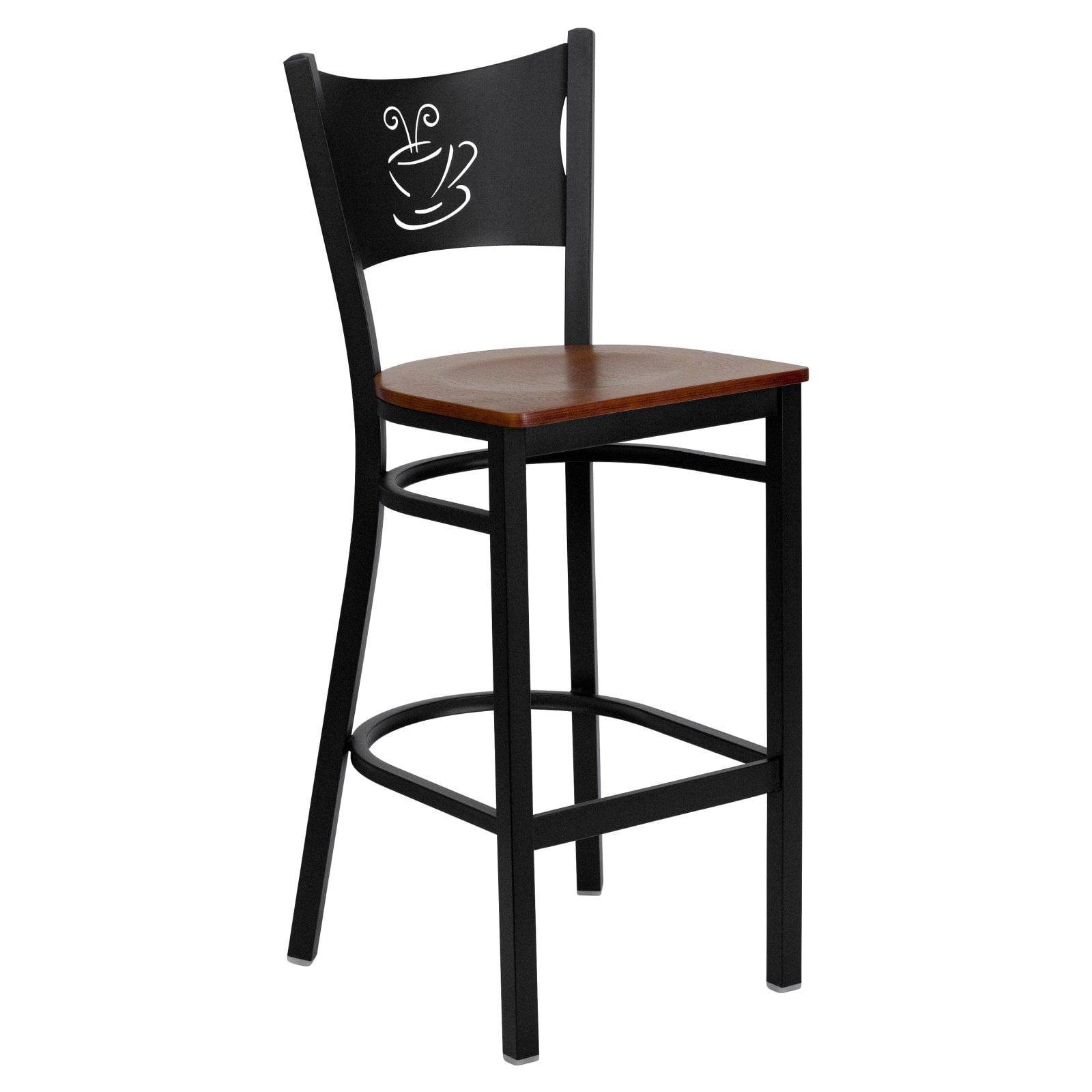 Flash Furniture HERCULES Series Black Coffee Back Metal Restaurant Barstool, Wood Seat, Multiple Colors