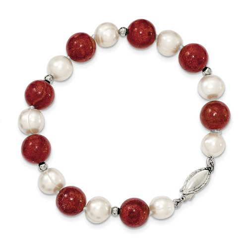 Sterling Silver 7.5in Freshwater Cultured Pearl & Dyed Red Coral Bracelet. by Jewelrypot