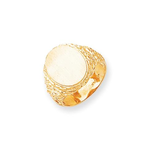 14k Yellow Gold Engravable Men's Signet Ring (16.4mm x 13.5mm face)