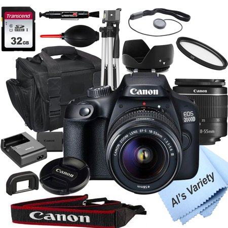 Canon EOS 2000D (Rebel T7) DSLR Camera with 18-55mm f/3.5-5.6 Zoom Lens + 32GB Card, Tripod, Case, and More (18pc Bundle)