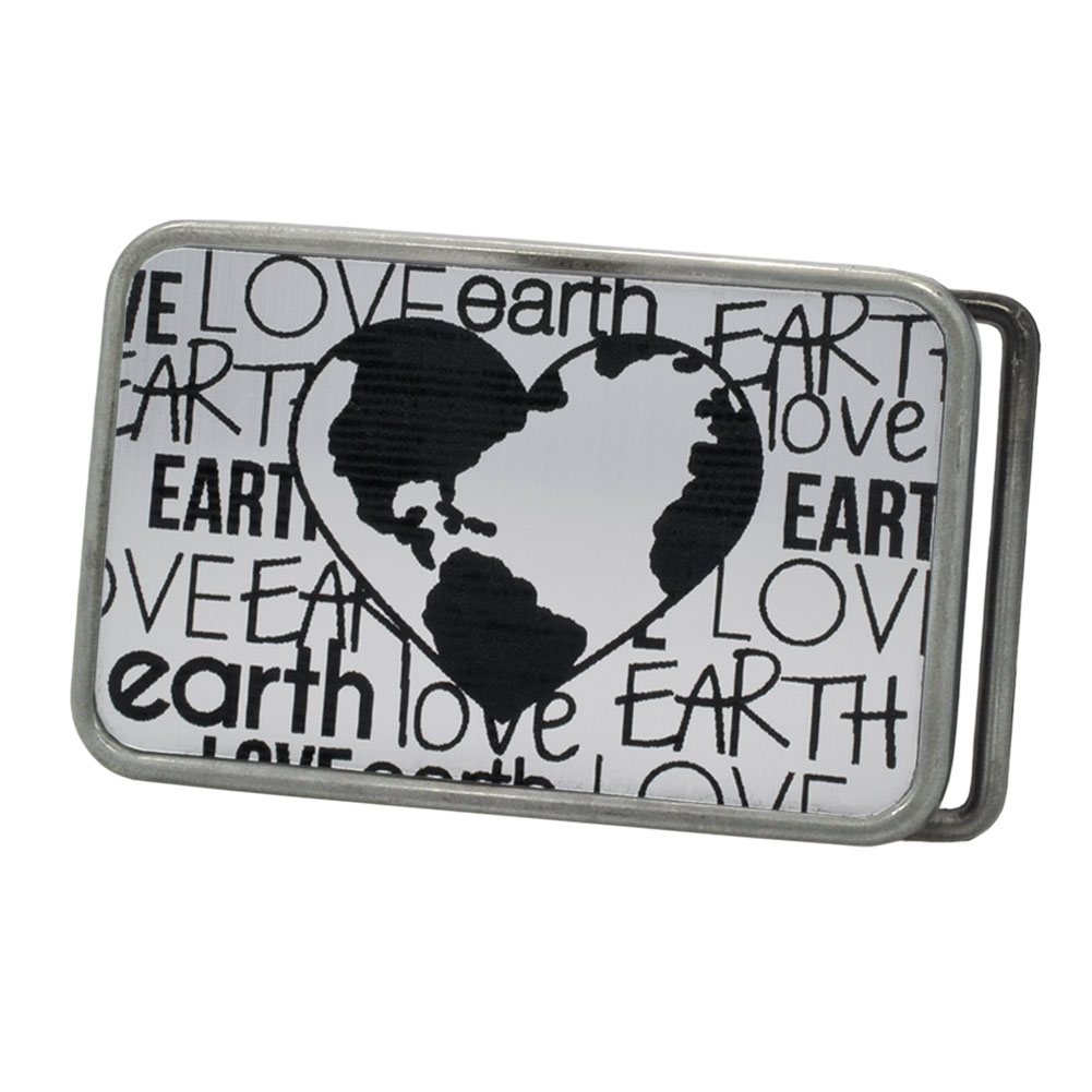 Buckle Rage Love The Earth Heart Belt Buckle, ANTIQUE SILVER, S1051-162-ATS