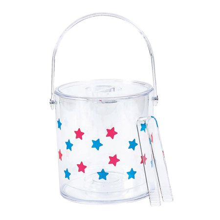 Fun Express - Patriotic Ice Bucket W Lid for Fourth of July - Party Supplies - Serveware & Barware - Misc Serveware & Barware - Fourth of July - 1 Piece