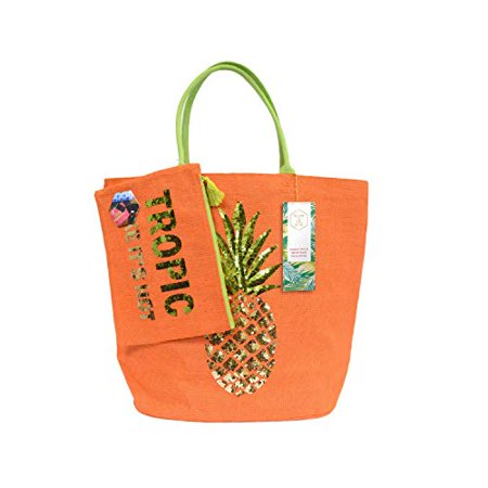 Olive & Hill Jute Tote Bag and Matching Carry-All Clutch Set Orange Pineapple - Orange Tote Bag