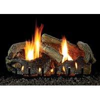 """24"""" Stacked Aged Oak Logset with MV VF/V Slope Glaze Burner, LP"""