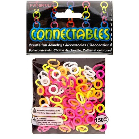 White, Neon Pink, Yellow and Orange Small Fun Weevz Connectalbes Kit for Bracelets and Necklaces](Neon Bracelets And Necklaces)