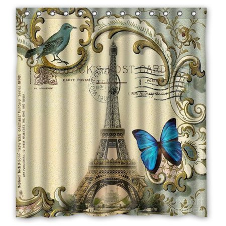 GreenDecor Blue Butterfly Modern Paris Eiffel Tower Waterproof Shower Curtain Set With Hooks Bathroom Accessories Size 66x72 Inches