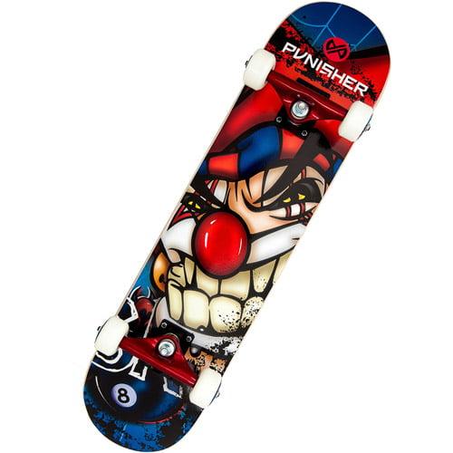 """Punisher Skateboards 31"""" ABEC-7 Complete Skateboard, Jester"""