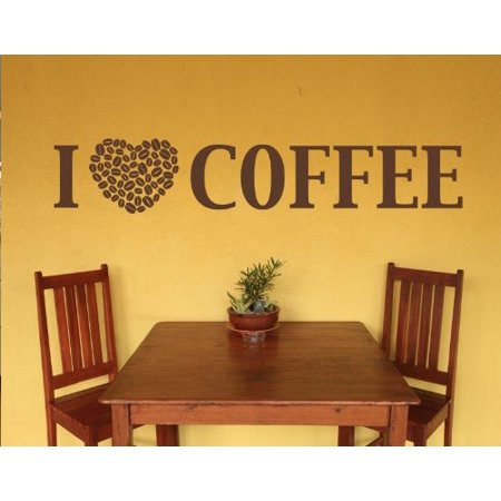 I Love Coffee Wall Decal - wall decal, sticker, mural vinyl art home decor quotes and sayings - 4384 - White, 16in x 4in