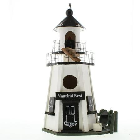 Bird Nest, Wood And Metal Finch Bird House Sparrow, White Lighthouse