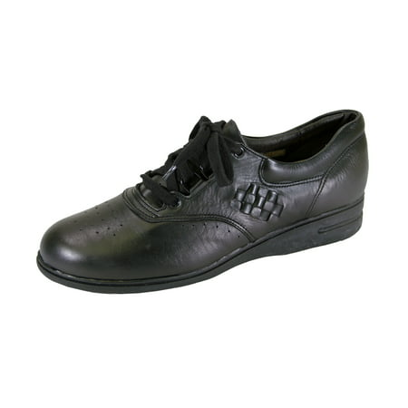 24 HOUR COMFORT Dee Wide Width Leather Lace Up Comfort Oxford Shoes BLACK 9