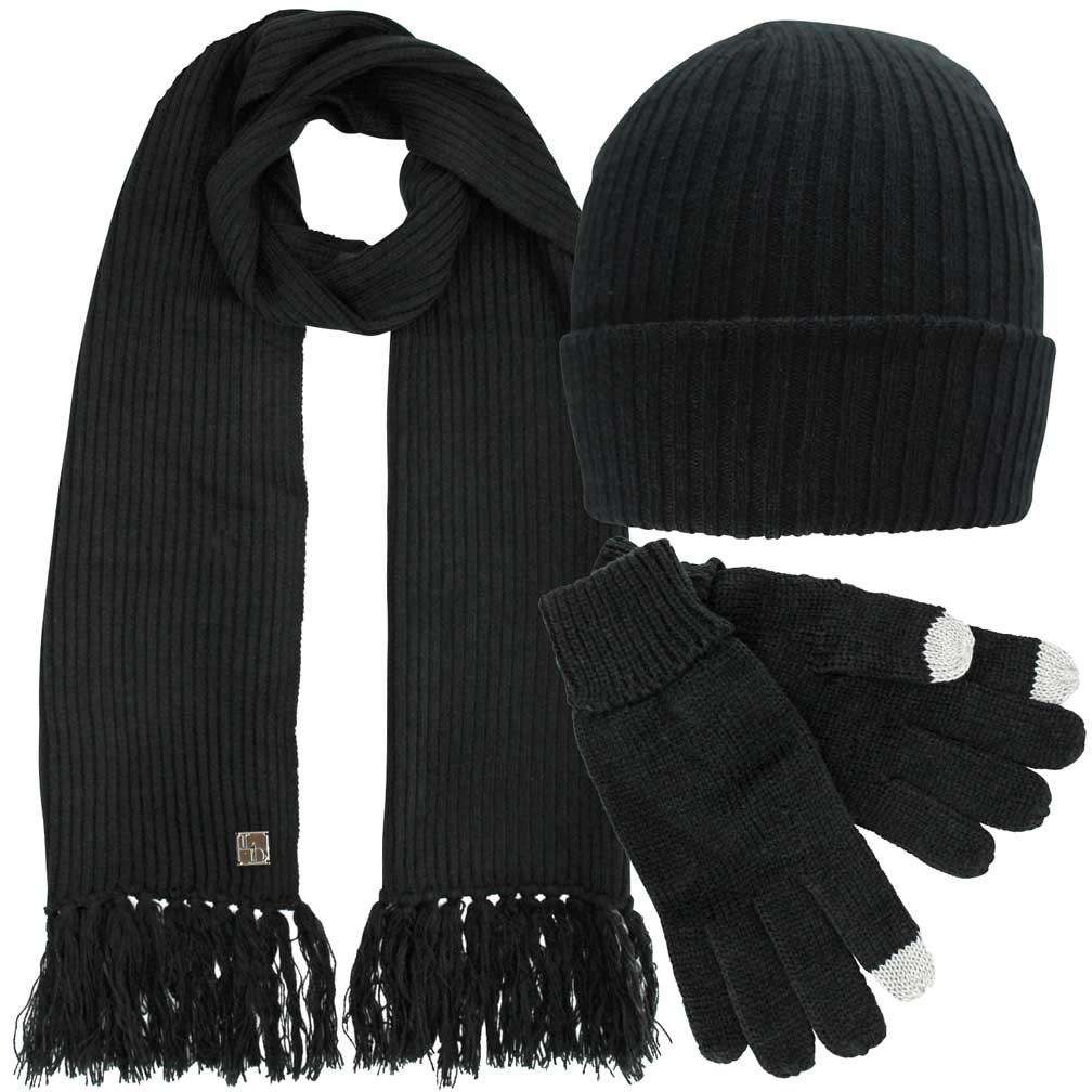 Luxury Divas Knit 3 Piece Hat Scarf & Gloves Set