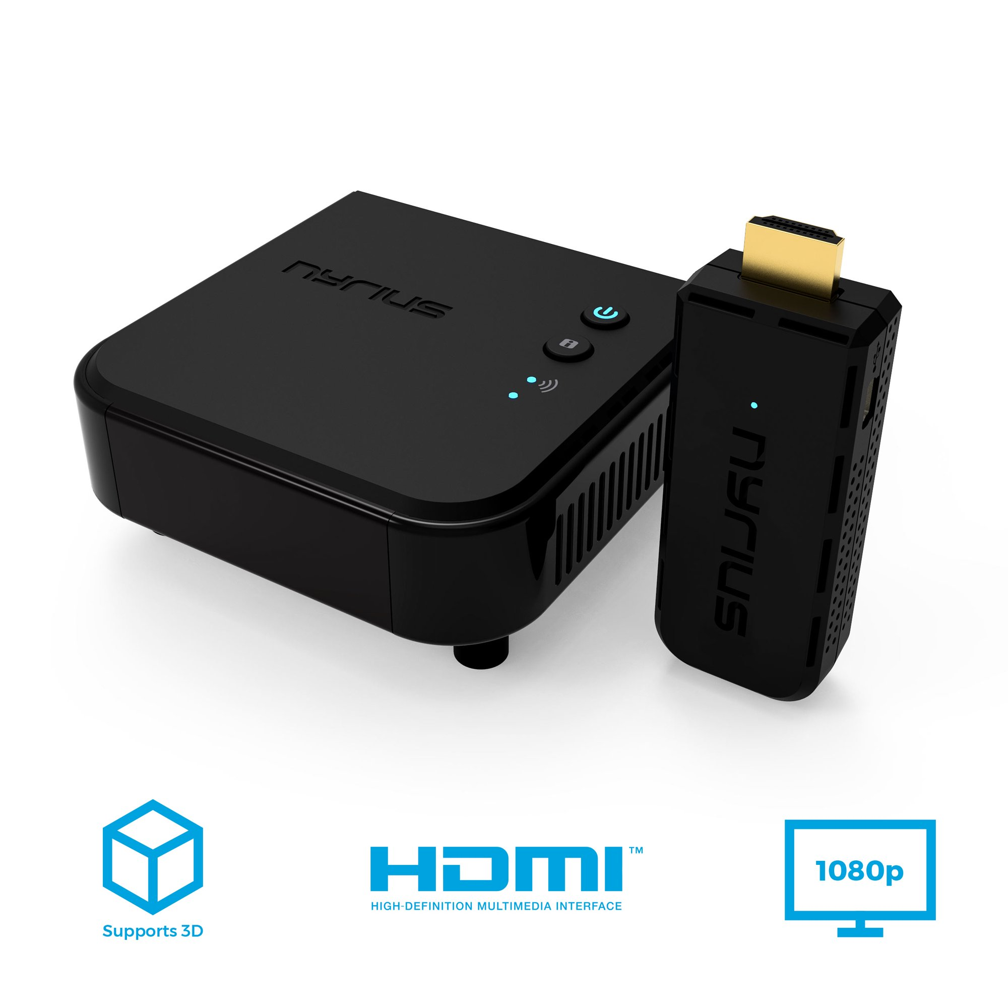 Nyrius ARIES Pro Wireless HDMI Transmitter and Receiver To Stream HD 1080p  3D Video From Laptop, PC, Cable, Netflix, YouTube, PS4, Xbox 1, Drones, Pro