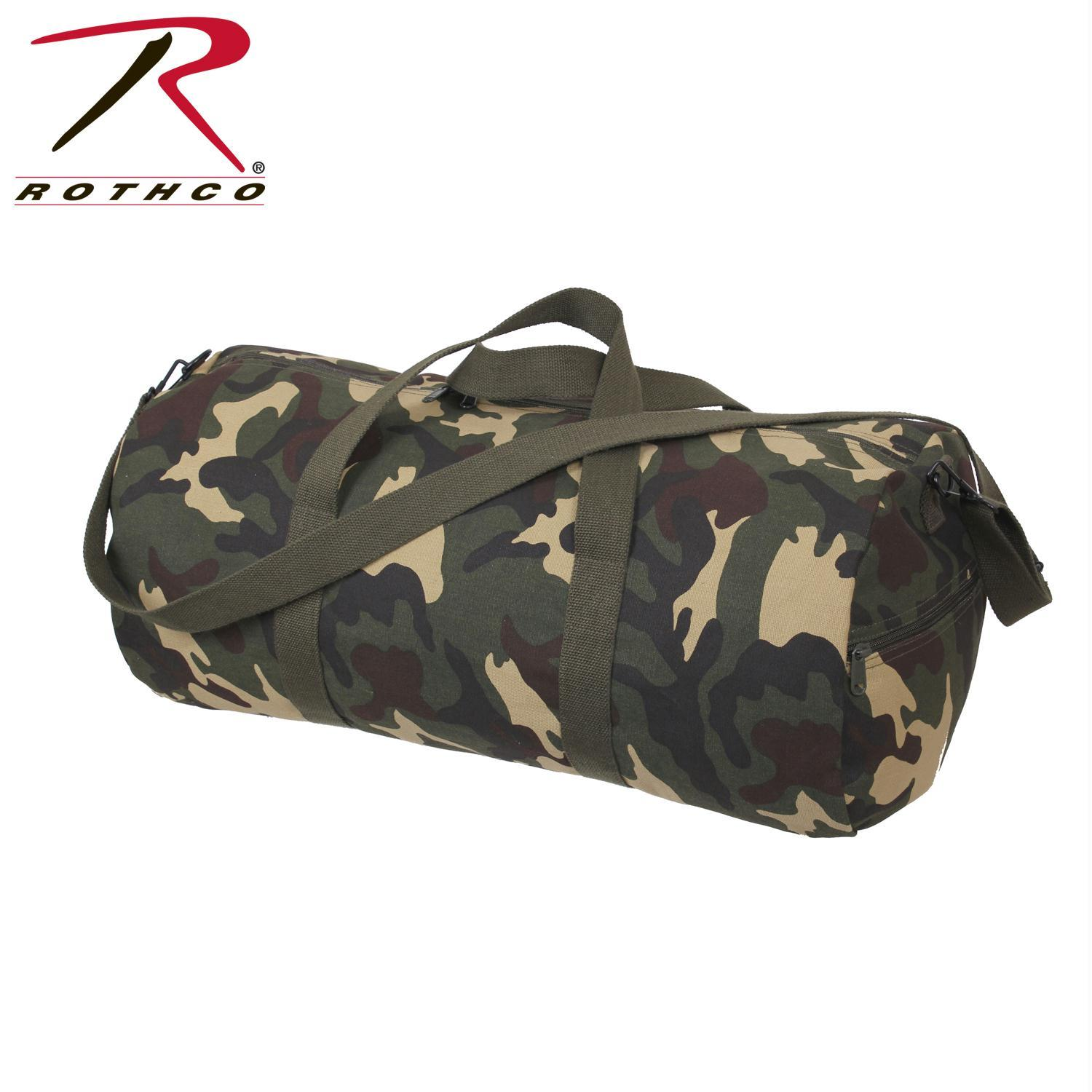 Rothco Canvas Shoulder Duffle Bag 24 Inch, Woodland Camo by Rothco
