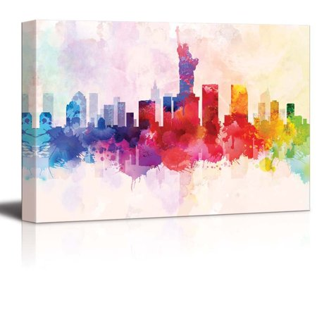- wall26 Colorful Rainbow Splattered Paint on the City of New York with the Statue of Liberty - Canvas Art Home Decor - 12x18 inches