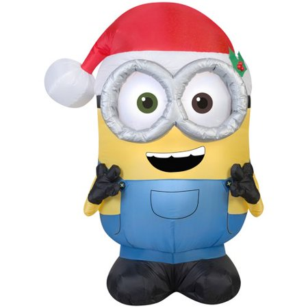 Gemmy Industries Airblown Minion Bob with Santa Hat Inflatable