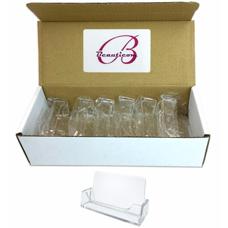 Clear Beauticom Business Card Holder - Style #3 - 12 Pieces Clear Business Card Window
