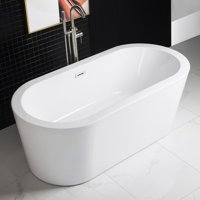 "Woodbridge 67"" Freestanding Bathtub Acrylic with Brushed Nickel Overflow and Drain, B-0002"