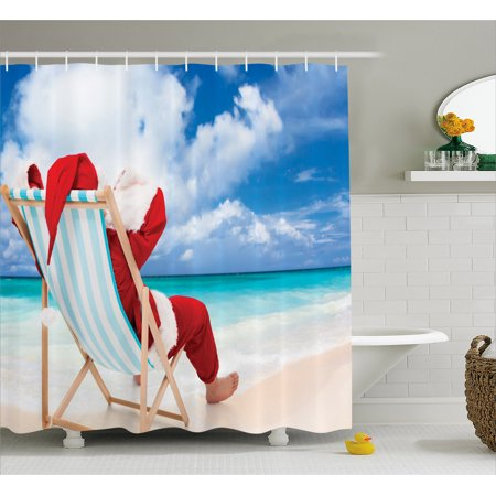 Santa Shower Curtain, Santa on a Chair Near the Sea Exotic Beach Relaxing Summer Vacation Resting, Fabric Bathroom Set with Hooks, 69W X 70L Inches, Blue Sand Brown Red, by Ambesonne
