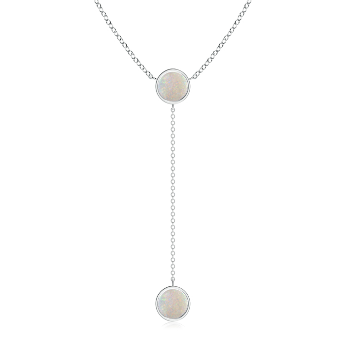 Mother's Day Jewelry Necklace By Yard Bezel-Set Round Cabochon Opal Drop Necklace in 950 Platinum (7mm Opal)... by Angara.com