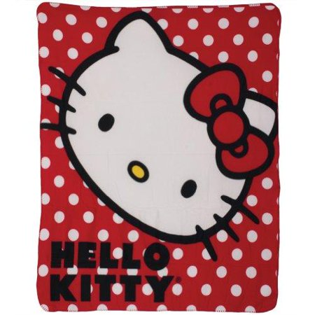 Hello Kitty Polka Dot Fleece Blanket Throw - 46