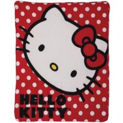 "Hello Kitty Polka Dot Fleece Blanket Throw - 46"" X 60"""