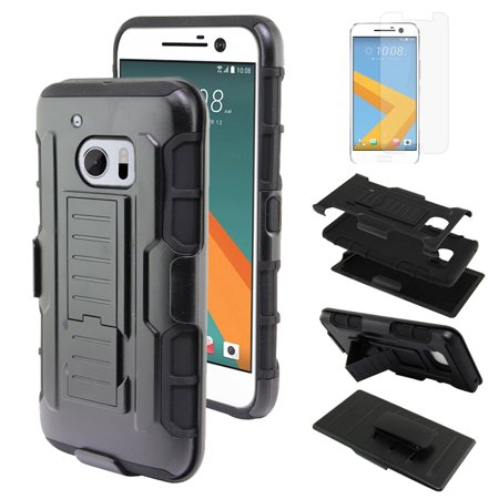 24k Layered - FINCIBO Dual Layer Hybrid Robot Case Cover Stand TPU Holster for HTC 10 One M10, Black/Black