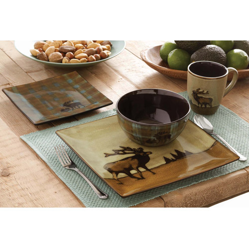 Better Homes and Gardens Roaming Elk 16-Piece Square Dinnerware Set, Brown