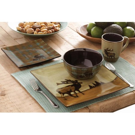 Better Homes And Gardens Roaming Elk 16 Piece Square Dinnerware Set Brown