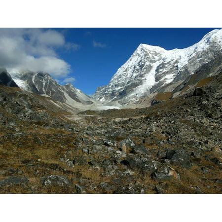 Canvas Print Mountains Rathong India Snow Glacier Ice Stretched Canvas 10 x 14 (Glacier Snow)