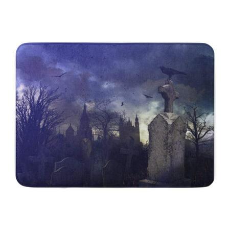 SIDONKU Tree Halloween Night Scene in Spooky Graveyard Cemetery Scary Doormat Floor Rug Bath Mat 30x18 inch