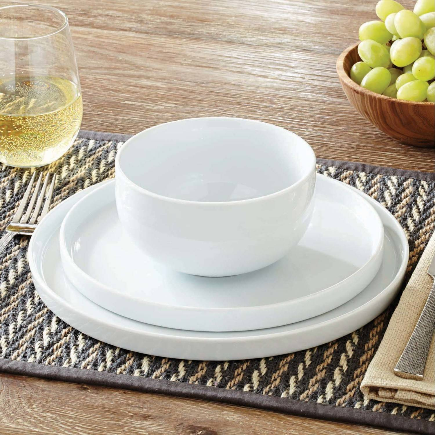Better Homes And Gardens Modern Rim 12 Piece Dinnerware Set, White