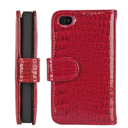 Red Wallet Style Magnetic Flip Textured Crocodile Leather Case with Credit Card / ID Slots for iPhone 4 / 4s (AT&T, Verizon, - Crocodile Texture Base