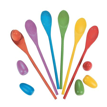 Egg Relay Game Set - Includes 6 Wooden Spoons 12