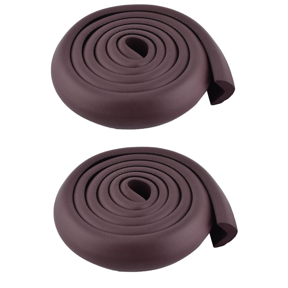 Flat Dresser Foam Rubber Safety Corner Edge Protector Cushion Dark Brown 2 Pcs