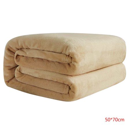 Solid Color Flannel Blanket Lightweight Cozy Bed Blanket Soft Throw Blanket fit Couch Sofa Car Office Autumn Winter Warm Carpet Air-condition Room