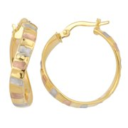 Fremada  10k Tri-color Gold 4x20-mm Satin Finish Ripple Design Surface Twist Hoop Earrings