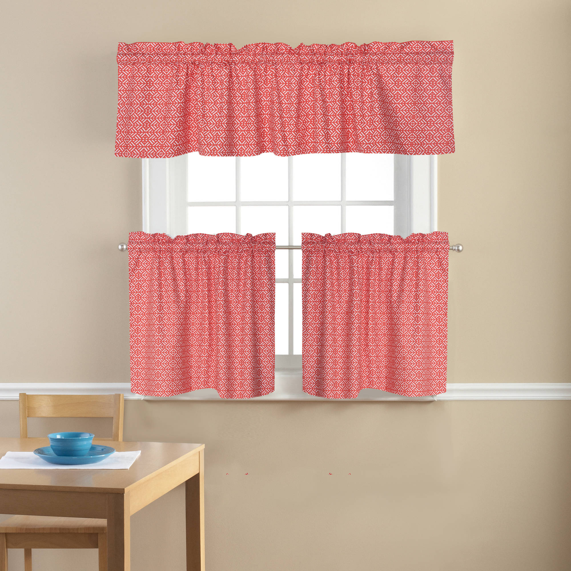 Mainstays Coral Damask Kitchen Curtains