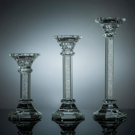Premium 6 7 And 9 Crystal Candlestick (3-Piece Set) Radiant Gems Inside Stem | Contemporary Elegance And Style | Modern Kitchen, Dining, or Living Room Use
