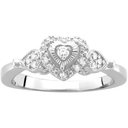 .13 Carat T.W. Heart-Shaped Diamond Promise Ring in Sterling Silver