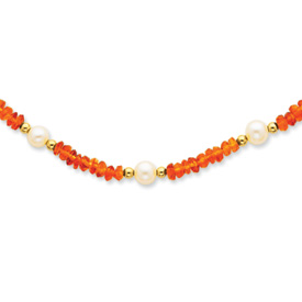 14k Gold Freshwater Cultured Pearl and Citrine Necklace 18 Inch Pearl Clasp by