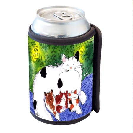 KuzmarK Insulated Drink Can Cooler Hugger - Maine Coon Kitty Family Mama and Three Kittens Abstract Cat Art by Denise Every
