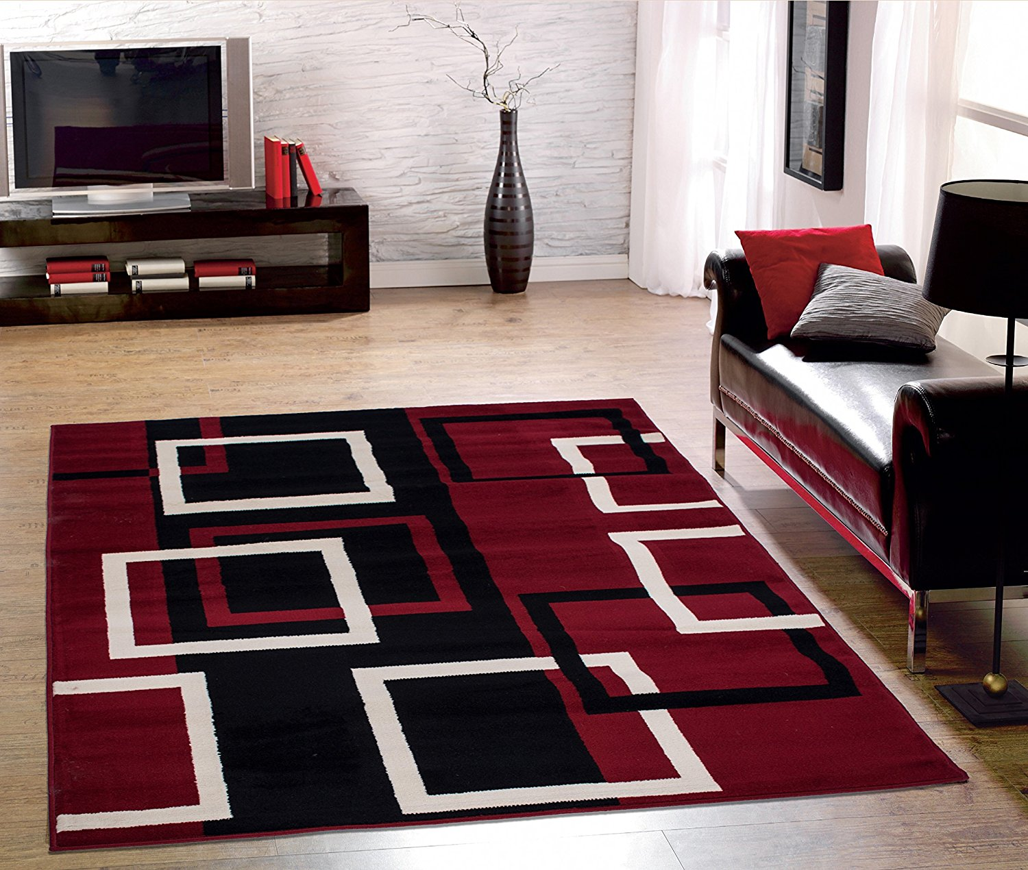 Clifton Collection Modern Bo Design Area Rug 5 W X 7 L Dark Red Genuine Gy Nonskid Multicolor Bouquet Western Ottohome 236 Curtain 118